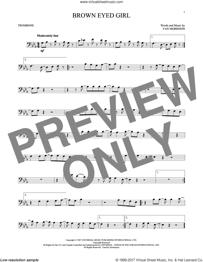 Brown Eyed Girl sheet music for trombone solo by Van Morrison, intermediate skill level