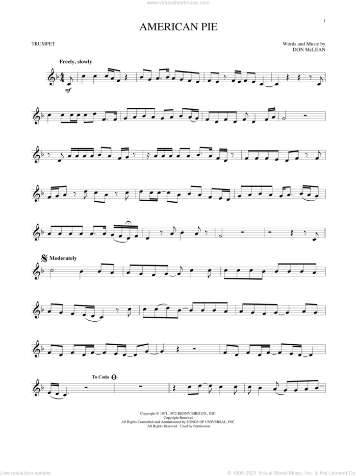 American Pie sheet music for trumpet solo by Don McLean, intermediate skill level
