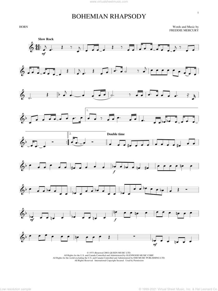 Bohemian Rhapsody sheet music for horn solo by Queen and Freddie Mercury, intermediate skill level