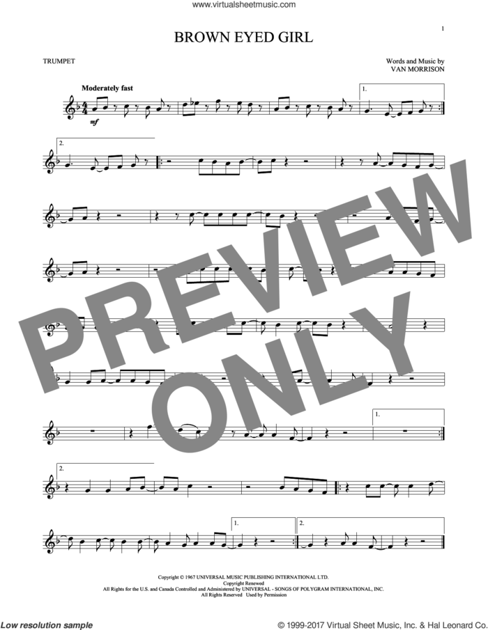 Brown Eyed Girl sheet music for trumpet solo by Van Morrison, intermediate skill level
