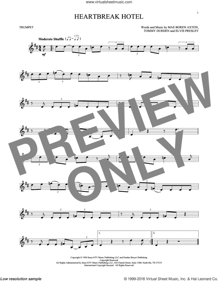 Heartbreak Hotel sheet music for trumpet solo by Elvis Presley, Mae Boren Axton and Tommy Durden, intermediate skill level