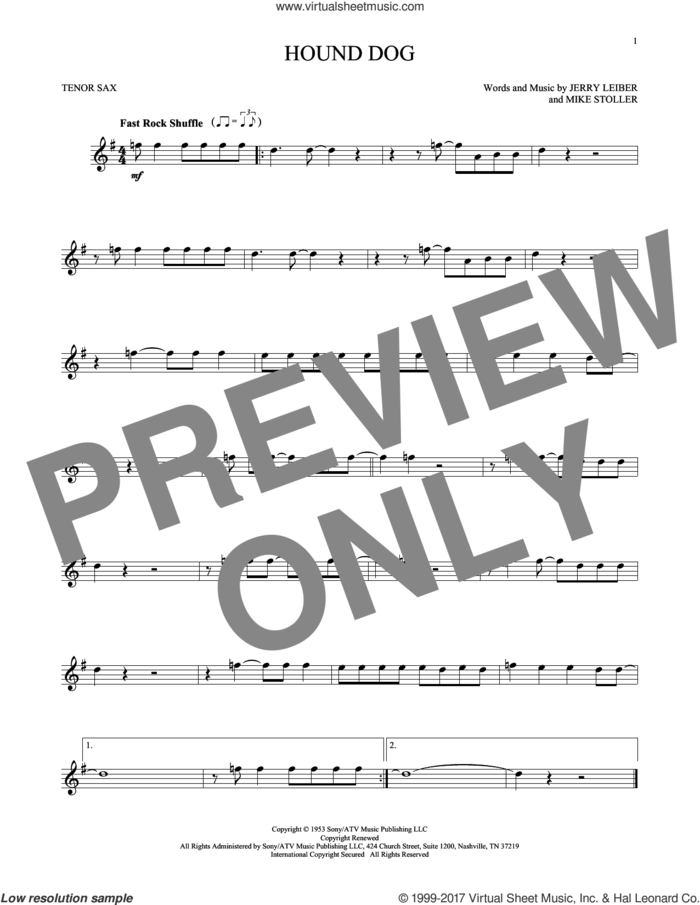 Hound Dog sheet music for tenor saxophone solo by Elvis Presley, Jerry Leiber and Mike Stoller, intermediate skill level