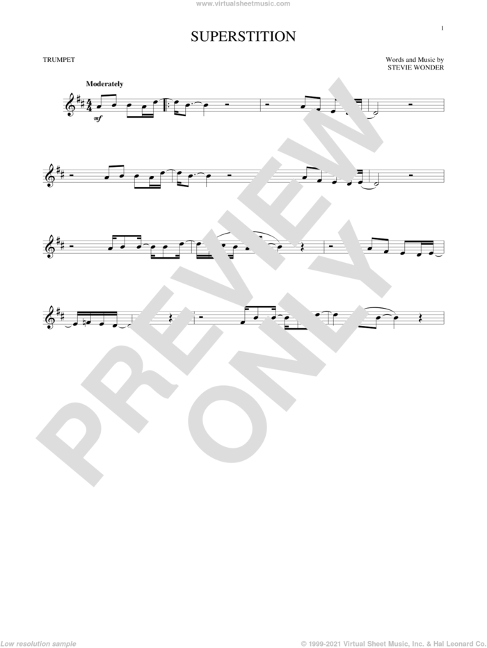 Superstition sheet music for trumpet solo by Stevie Wonder, intermediate skill level