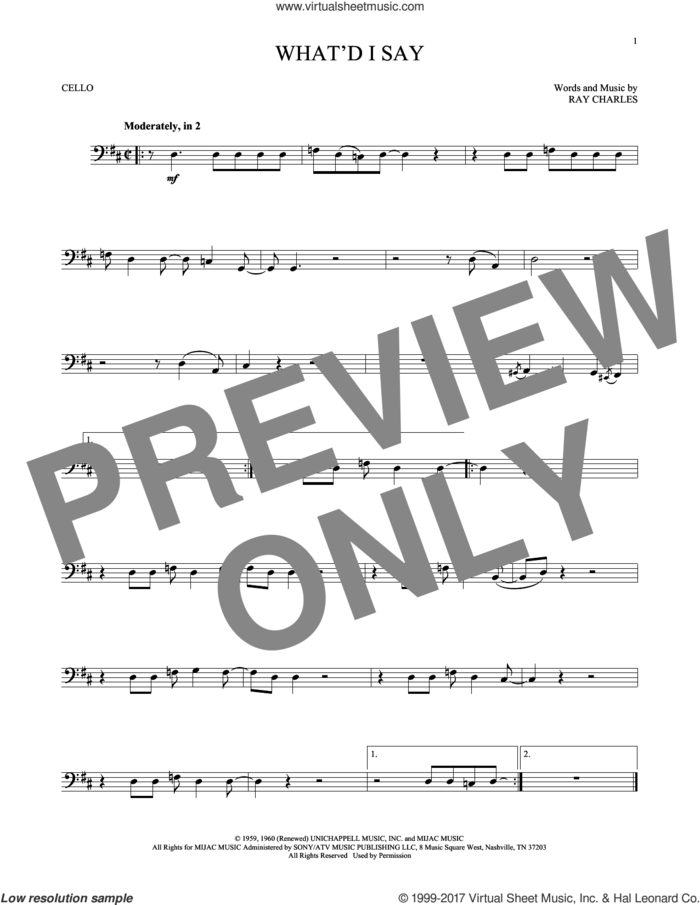 What'd I Say sheet music for cello solo by Ray Charles, intermediate skill level