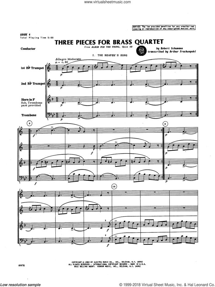 Three Pieces for Brass Quartet (COMPLETE) sheet music for brass quartet by Robert Schumann and Arthur Frankenpohl, intermediate skill level