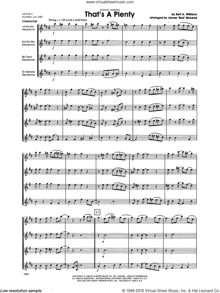 That's A Plenty (COMPLETE) sheet music for saxophone quartet by James 'Red' McLeod and Bert A. Williams, intermediate skill level