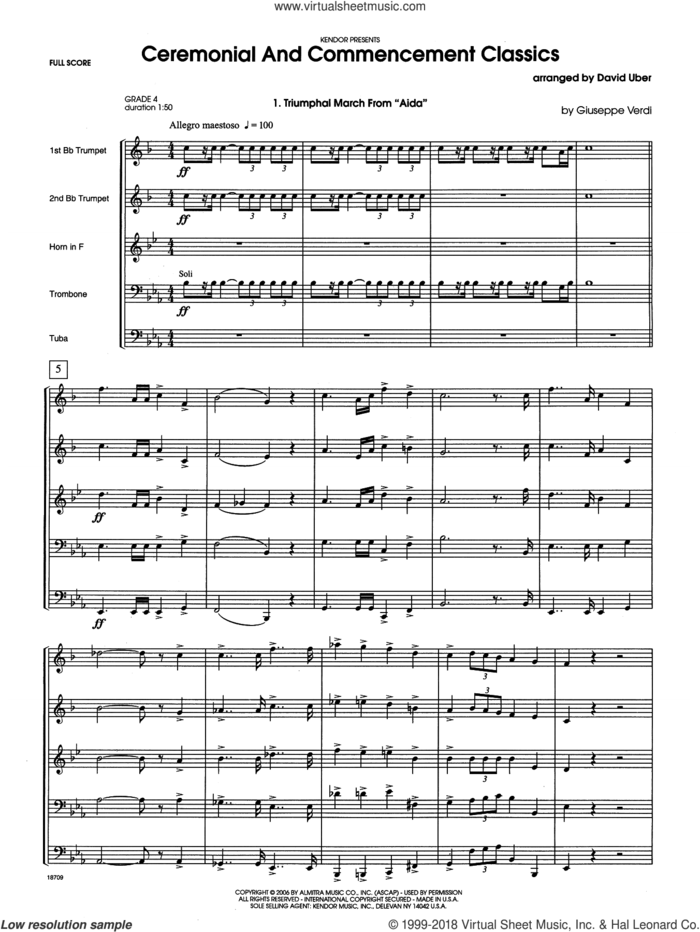 Ceremonial And Commencement Classics (COMPLETE) sheet music for brass quintet by David Uber, intermediate skill level