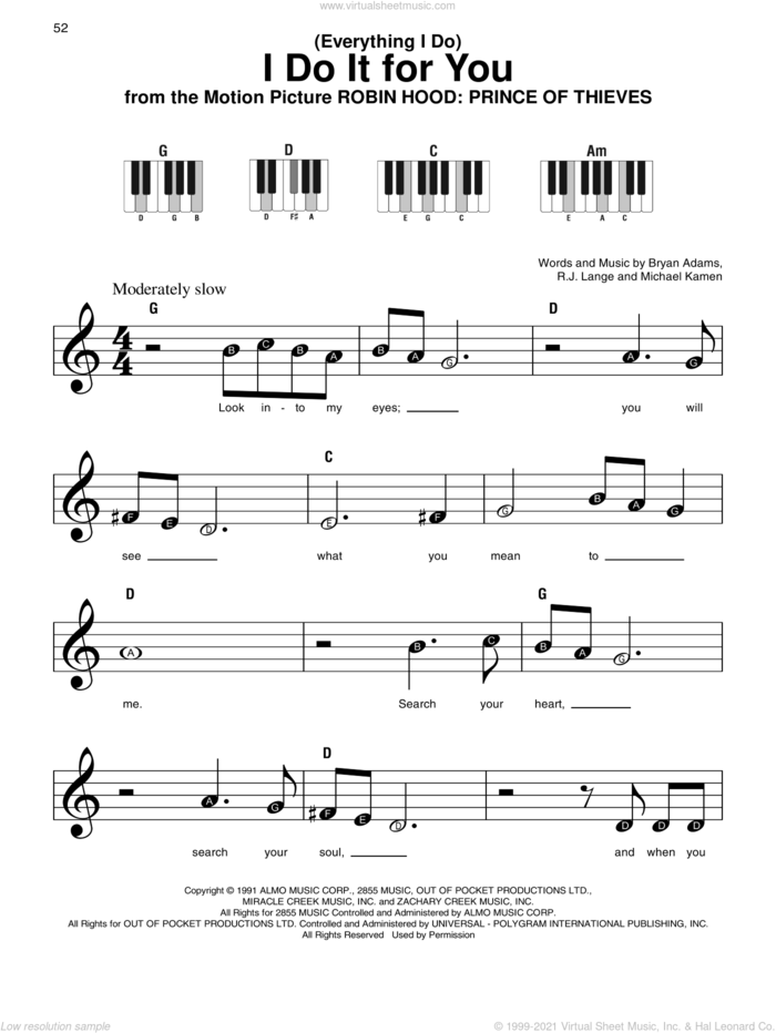(Everything I Do) I Do It For You sheet music for piano solo by Bryan Adams, Michael Kamen and Robert John Lange, beginner skill level