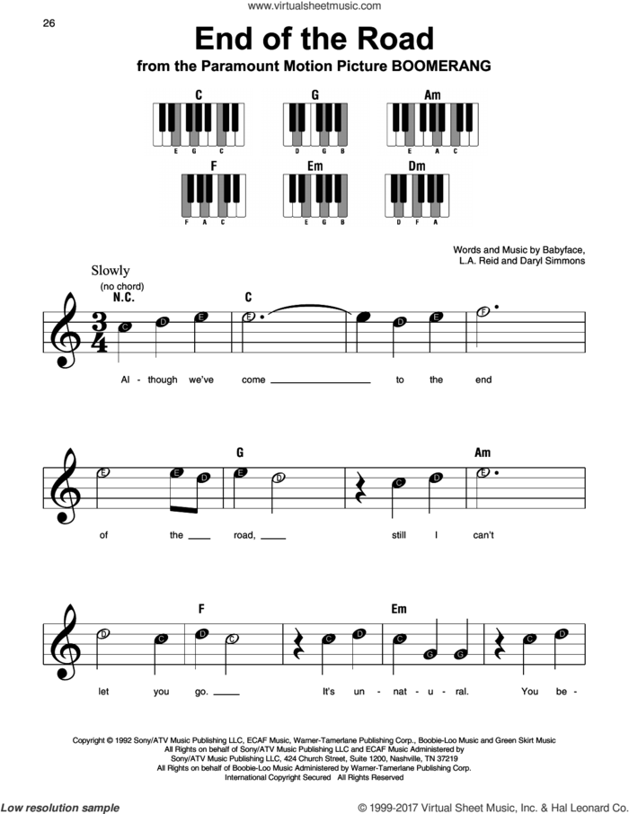 End Of The Road sheet music for piano solo by Boyz II Men, Babyface, Daryl Simmons and L.A. Reid, beginner skill level