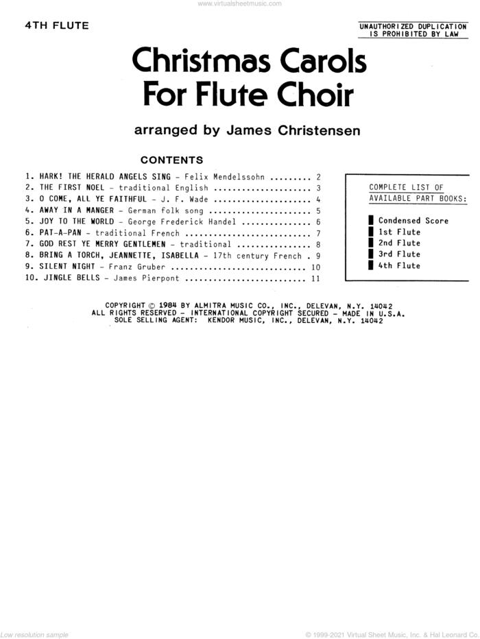 Christmas Sheet Music and Carols For Flute Choir - 4th Flute for flute quartet by James Chrsitensen, intermediate skill level