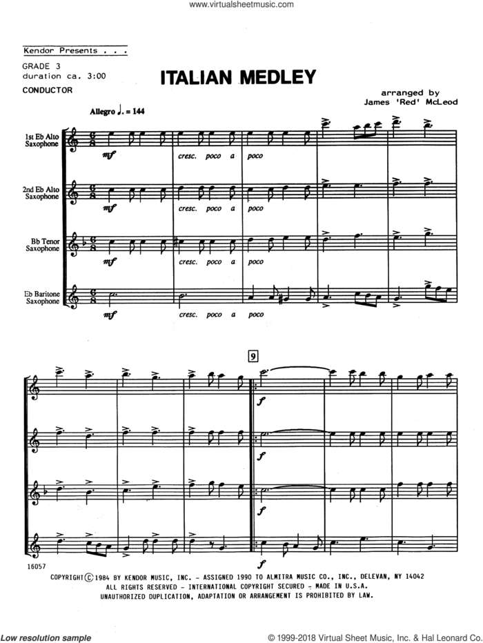 Italian Medley (COMPLETE) sheet music for saxophone quartet by James 'Red' McLeod, intermediate skill level