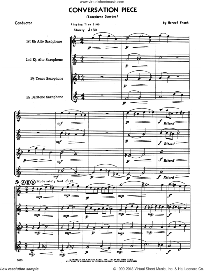 Conversation Piece (COMPLETE) sheet music for saxophone quartet by Marcel Frank, intermediate skill level