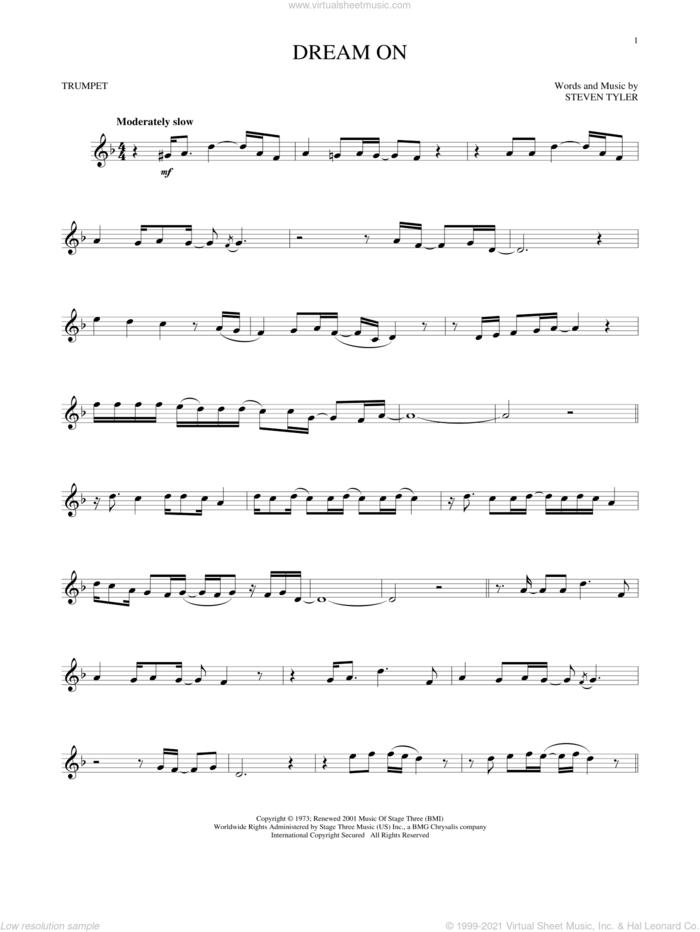 Dream On sheet music for trumpet solo by Aerosmith and Steven Tyler, intermediate skill level