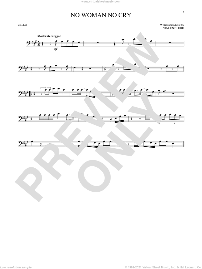 No Woman No Cry sheet music for cello solo by Bob Marley and Vincent Ford, intermediate skill level