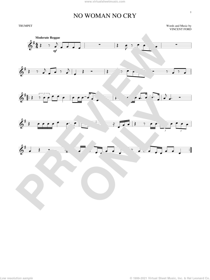 No Woman No Cry sheet music for trumpet solo by Bob Marley and Vincent Ford, intermediate skill level