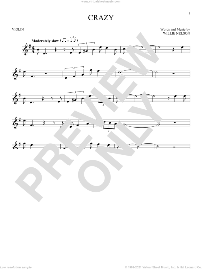 Crazy sheet music for violin solo by Willie Nelson and Patsy Cline, intermediate skill level