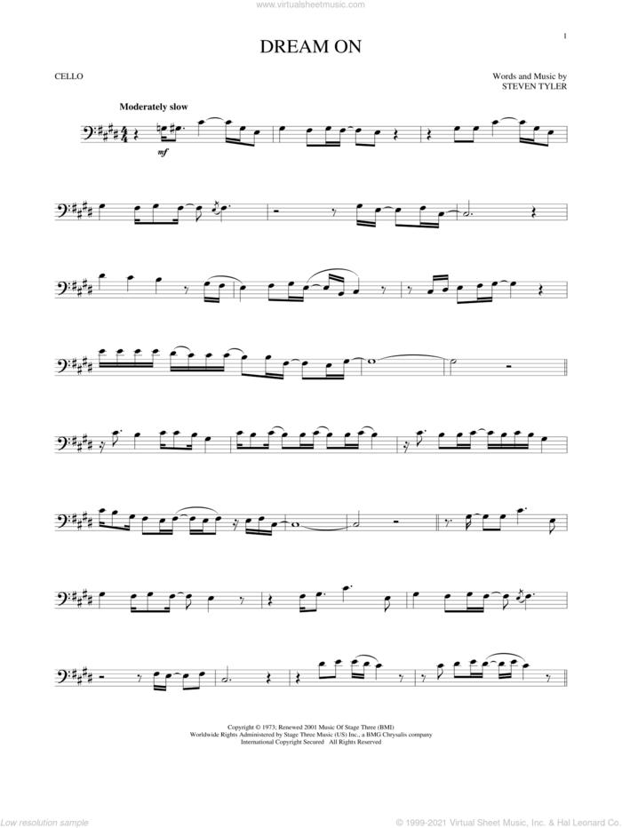 Dream On sheet music for cello solo by Aerosmith and Steven Tyler, intermediate skill level
