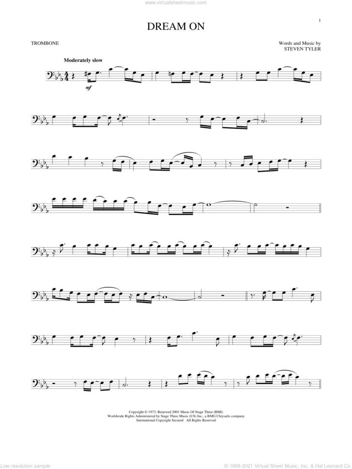 Dream On sheet music for trombone solo by Aerosmith and Steven Tyler, intermediate skill level