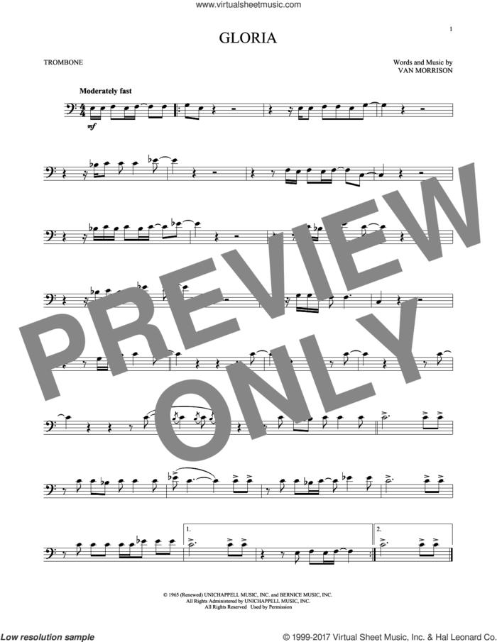 Gloria sheet music for trombone solo by Van Morrison, intermediate skill level