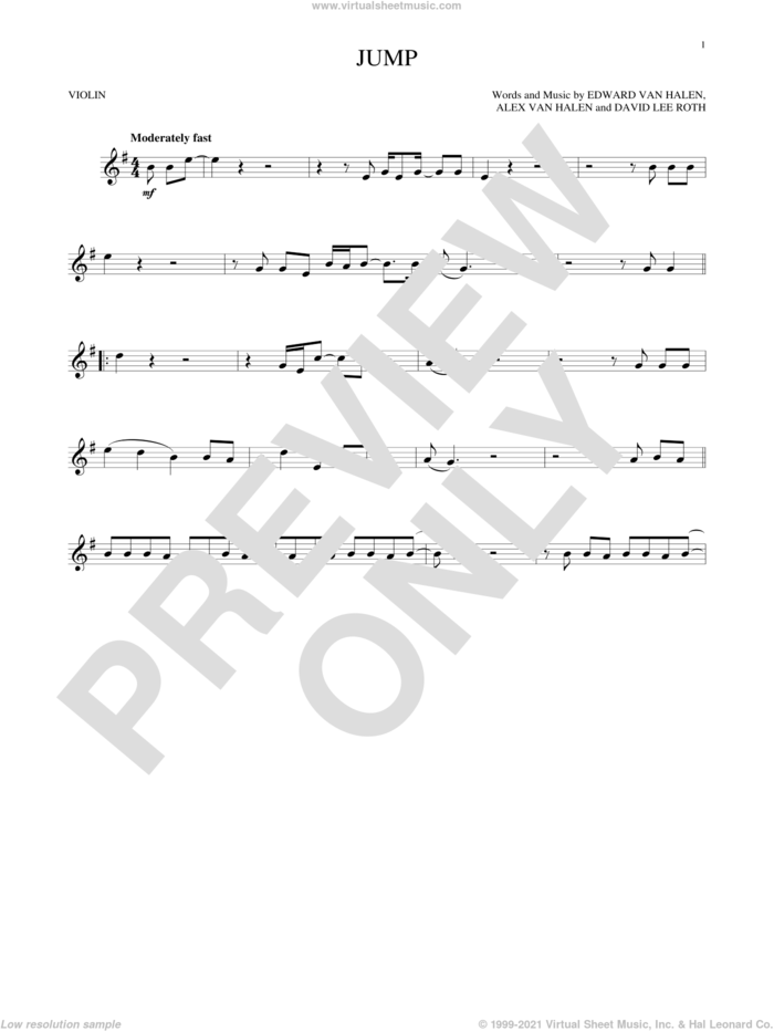 Jump sheet music for violin solo by Edward Van Halen, Alex Van Halen and David Lee Roth, intermediate skill level