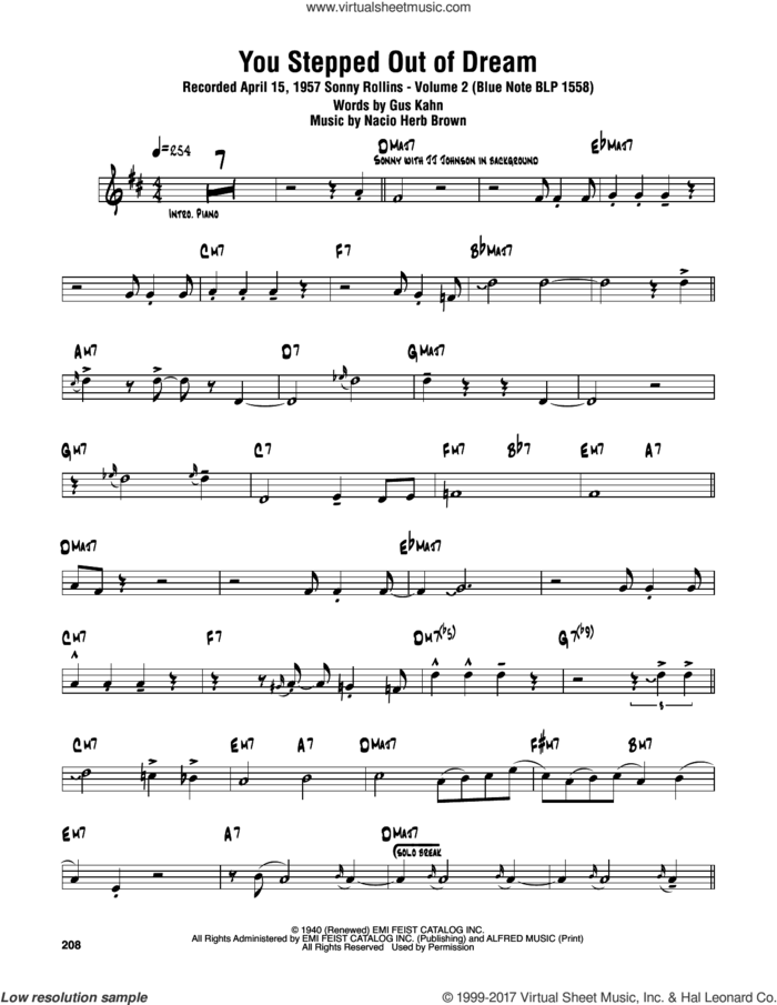 You Stepped Out Of A Dream sheet music for tenor saxophone solo (transcription) by Sonny Rollins, Gus Kahn and Nacio Herb Brown, intermediate tenor saxophone (transcription)