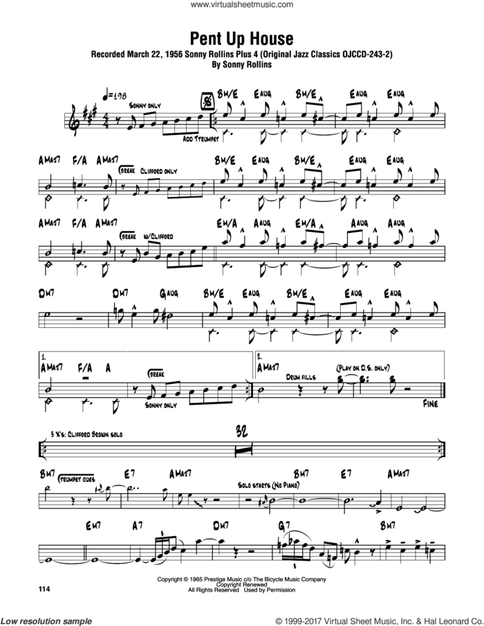 Pent Up House sheet music for tenor saxophone solo (transcription) by Sonny Rollins, intermediate tenor saxophone (transcription)