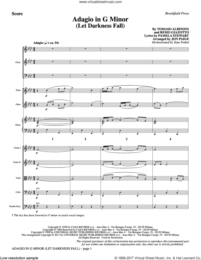 Adagio In G Minor (Let Darkness Fall) (COMPLETE) sheet music for orchestra/band by Jon Paige, Remo Giazotto and Tomaso Albinoni, intermediate skill level