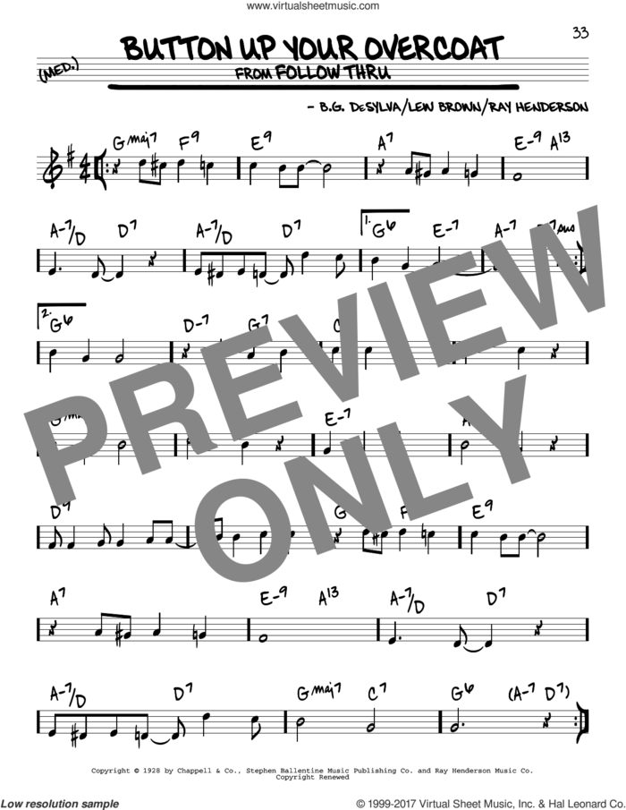 Button Up Your Overcoat sheet music for voice and other instruments (real book) by Ray Henderson, Buddy DeSylva and Lew Brown, intermediate skill level