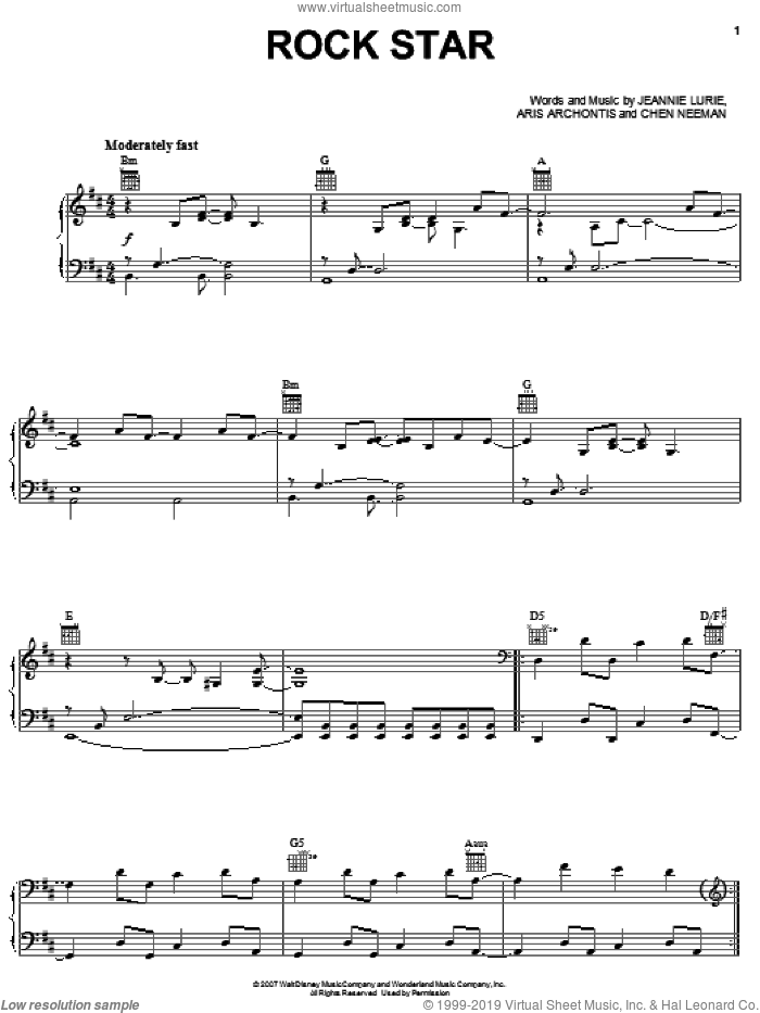 Rock Star sheet music for voice, piano or guitar by Hannah Montana, Miley Cyrus, Aris Archontis, Chen Neeman and Jeannie Lurie, intermediate skill level