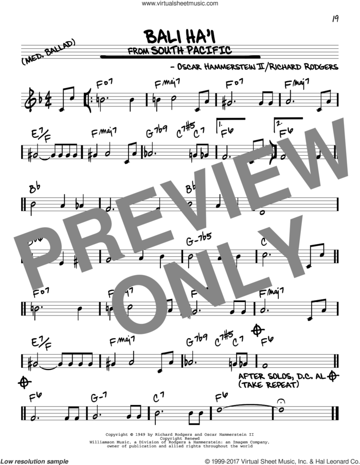 Bali Ha'i sheet music for voice and other instruments (real book) by Rodgers & Hammerstein, Oscar II Hammerstein and Richard Rodgers, intermediate skill level