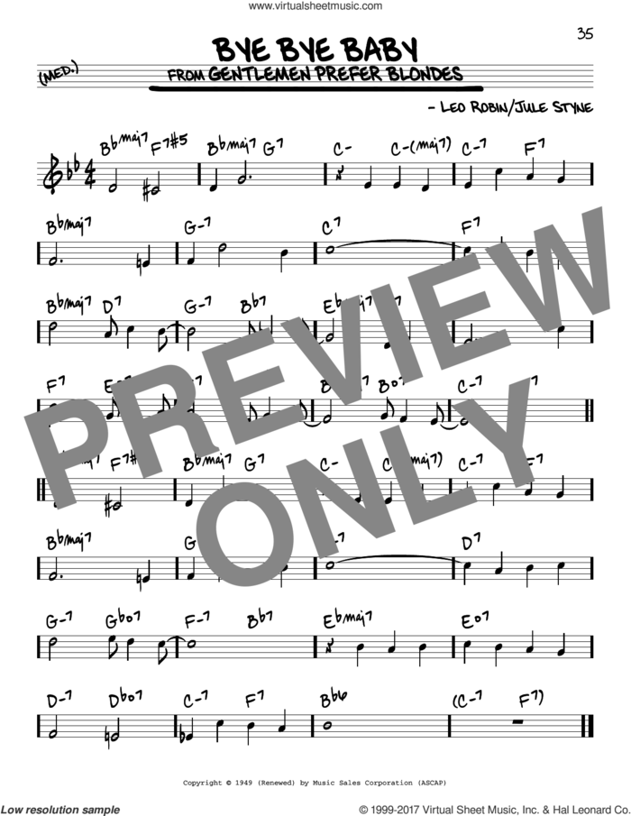 Bye Bye Baby sheet music for voice and other instruments (real book) by Jule Styne and Leo Robin, intermediate skill level