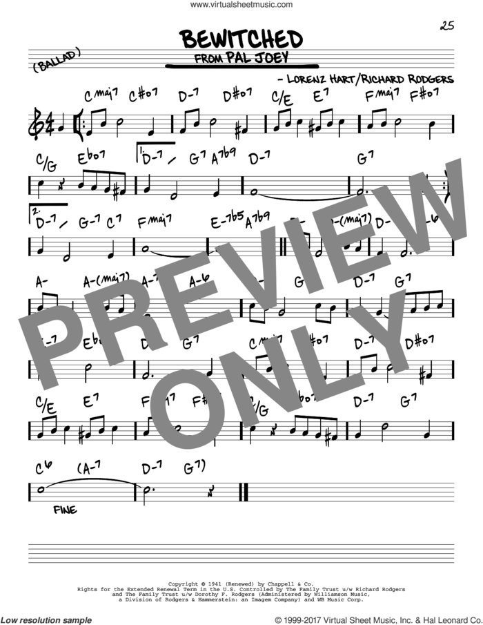 Bewitched sheet music for voice and other instruments (real book) by Rodgers & Hart, Lorenz Hart and Richard Rodgers, intermediate skill level