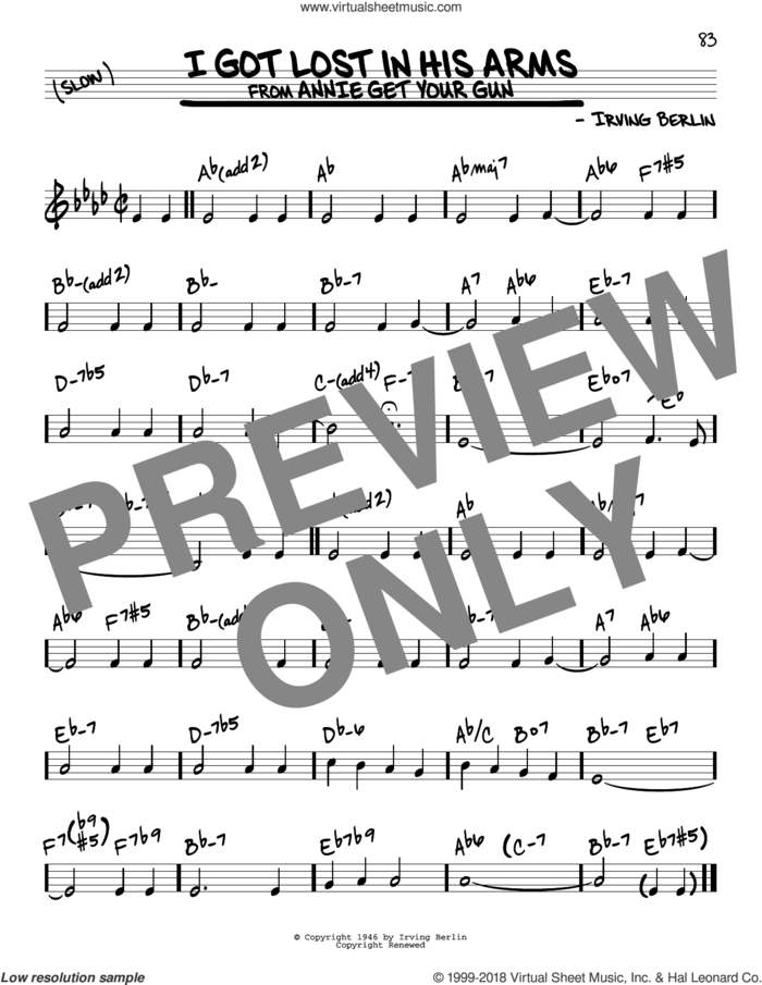 I Got Lost In His Arms sheet music for voice and other instruments (real book) by Irving Berlin, intermediate skill level