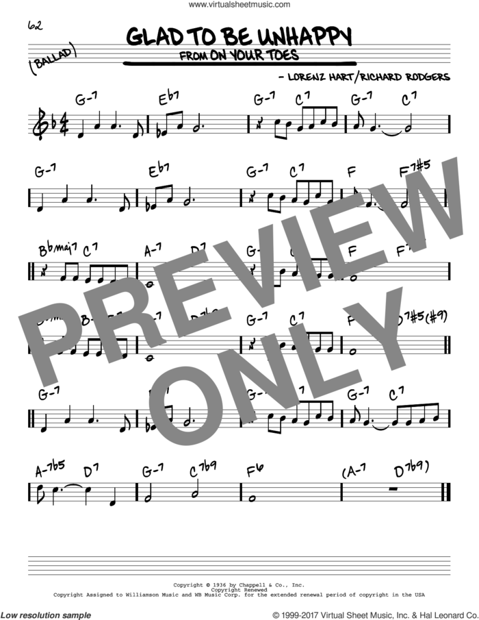 Glad To Be Unhappy sheet music for voice and other instruments (real book) by Rodgers & Hart, Lorenz Hart and Richard Rodgers, intermediate skill level