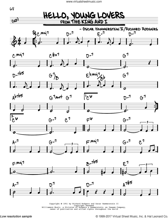 Hello, Young Lovers sheet music for voice and other instruments (real book) by Rodgers & Hammerstein, Oscar II Hammerstein and Richard Rodgers, intermediate skill level