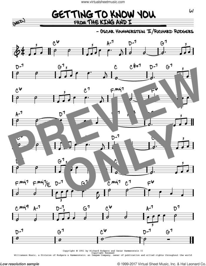 Getting To Know You sheet music for voice and other instruments (real book) by Rodgers & Hammerstein, Oscar II Hammerstein and Richard Rodgers, intermediate skill level