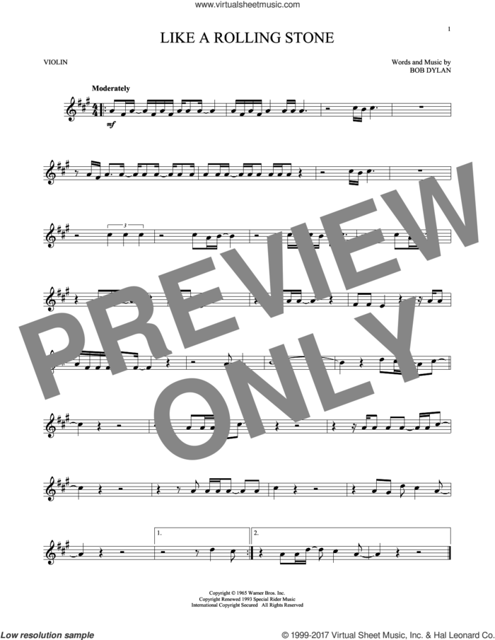 Like A Rolling Stone sheet music for violin solo by Bob Dylan, intermediate skill level