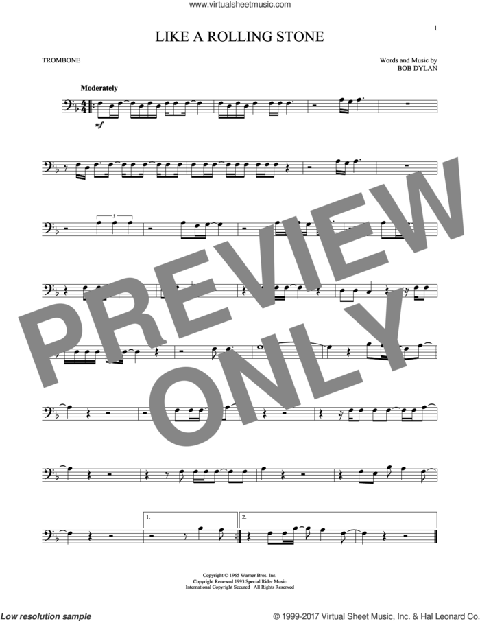 Like A Rolling Stone sheet music for trombone solo by Bob Dylan, intermediate skill level