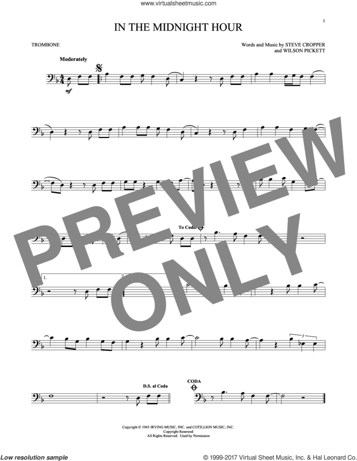 In The Midnight Hour sheet music for trombone solo by Wilson Pickett and Steve Cropper, intermediate skill level