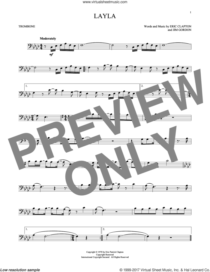 Layla sheet music for trombone solo by Eric Clapton, Derek And The Dominos and Jim Gordon, intermediate skill level