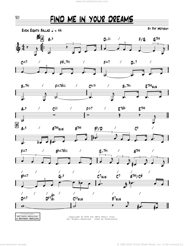 Find Me In Your Dreams sheet music for voice and other instruments (real book) by Pat Metheny, intermediate skill level