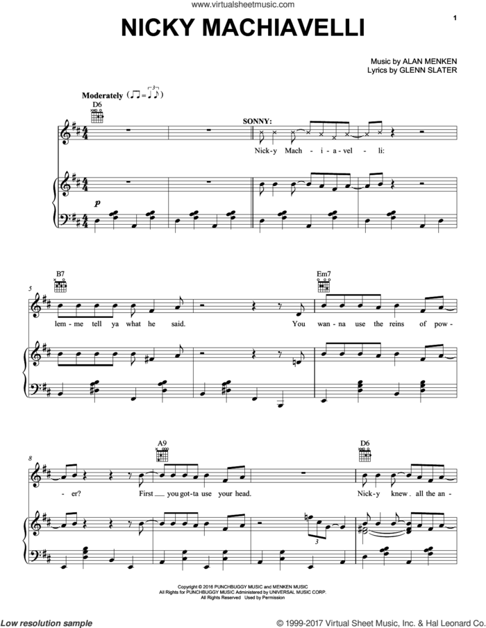 Nicky Machiavelli sheet music for voice, piano or guitar by Alan Menken and Glenn Slater, intermediate skill level