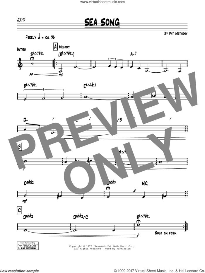 Sea Song sheet music for voice and other instruments (real book) by Pat Metheny, intermediate skill level