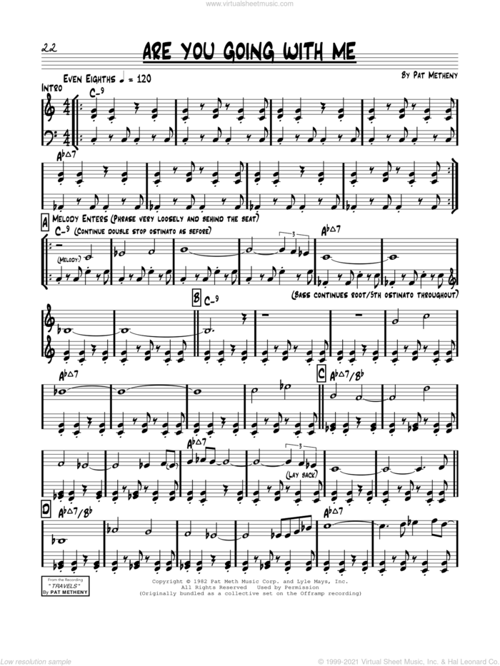 Are You Going With Me? sheet music for voice and other instruments (real book) by Pat Metheny and Lyle Mays, intermediate skill level