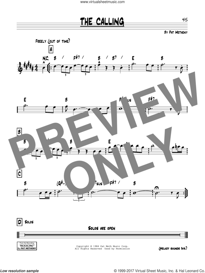 The Calling sheet music for voice and other instruments (real book) by Pat Metheny, intermediate skill level