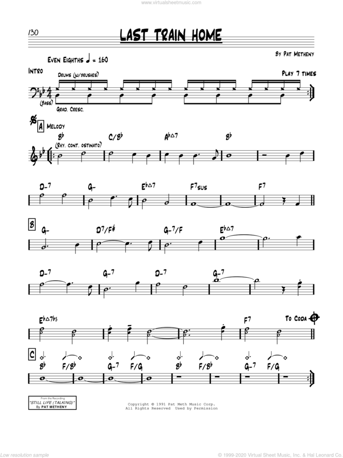 Last Train Home sheet music for voice and other instruments (real book) by Pat Metheny, intermediate skill level
