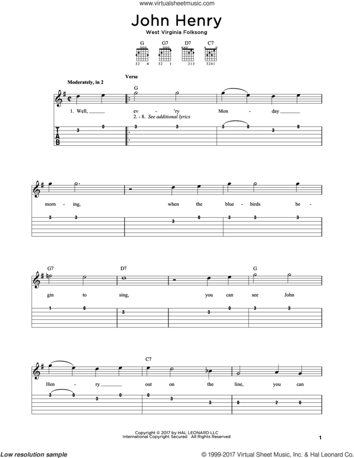 John Henry sheet music for guitar solo by West Virginia Folksong, intermediate skill level