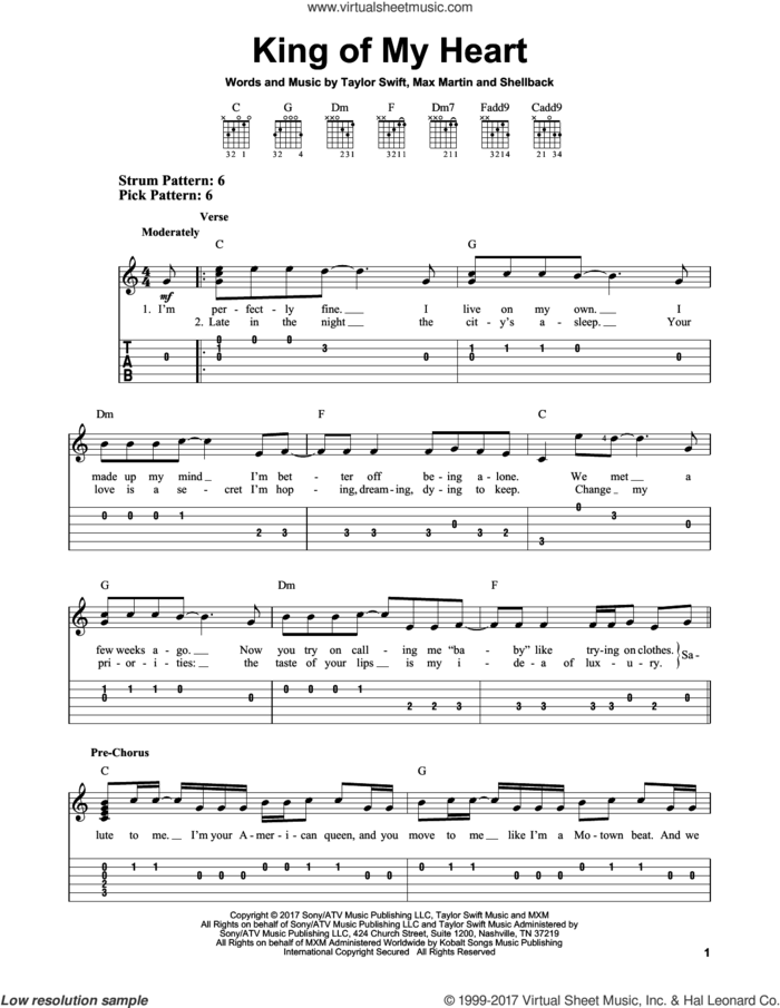 King Of My Heart sheet music for guitar solo (easy tablature) by Taylor Swift, Max Martin and Shellback, easy guitar (easy tablature)