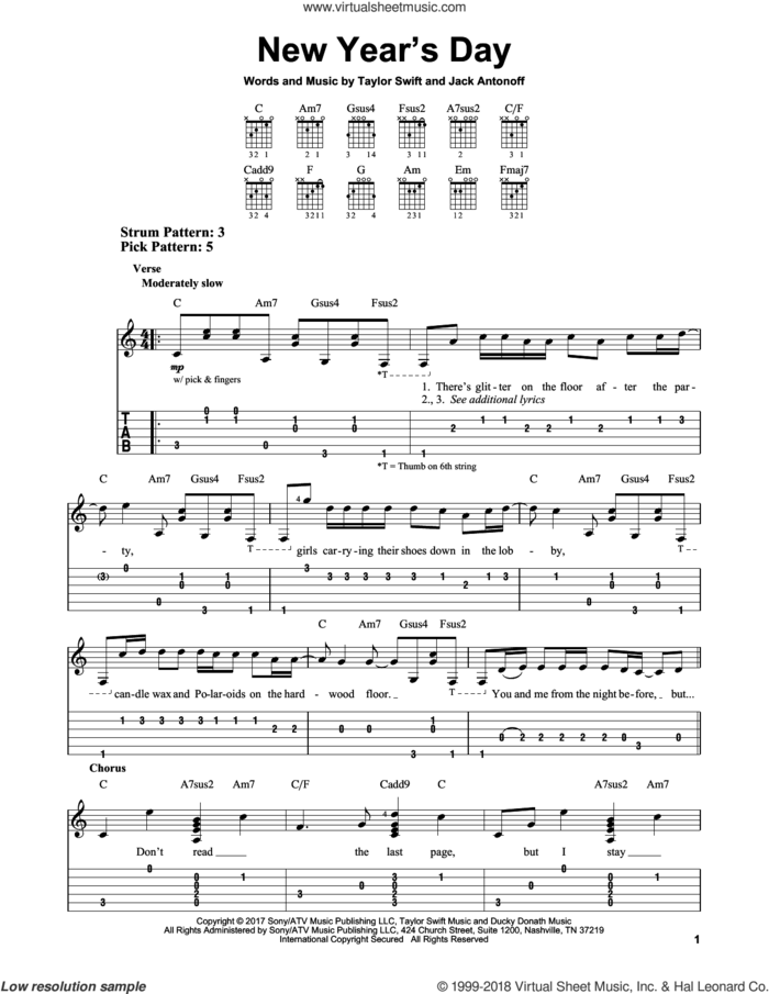 New Year's Day sheet music for guitar solo (easy tablature) by Taylor Swift and Jack Antonoff, easy guitar (easy tablature)