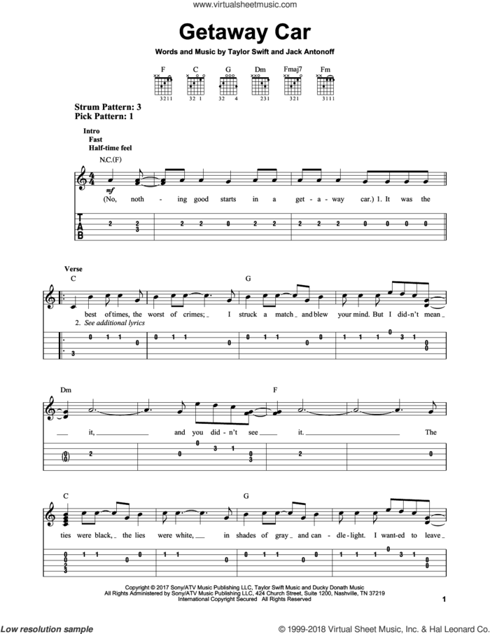 Getaway Car sheet music for guitar solo (easy tablature) by Taylor Swift and Jack Antonoff, easy guitar (easy tablature)